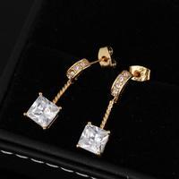 2014 new fashion square Earrings 18K plated gold romantic Earrings for women /lady earring