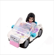 Girls toys Friends Girl Emma's White Car Assemble toys Building Block toys Compatible with Lego 10127 Develop intellectual toys(China (Mainland))