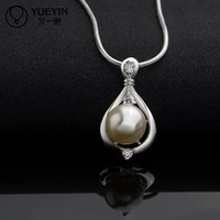 N523 Hot Elegant Silver 925 Silver 925 Simulated Pearl Pendant Necklace Women Wholesale Freeshipping