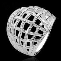 R539-8 2014 NEW Silver stamp BIG NET finger ring 925 Women Engagement unisex austria crystal anneau / anel / anneau / anillo