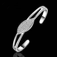 B208Free Shipping Cuff Nickel/Lead Free  Classic 925 Silver Stamp Leaf Crystal Bangle Wholesale Price bracelete / brazalete