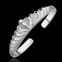 B213 Free Shipping Cuff Nickel/Lead Free  Classic 925 Silver Stamp Crown Bangle Wholesale Price bracelete / brazalete