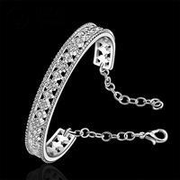 B216 Free Shipping Cuff Nickel/Lead Free  Classic 925 Silver Stamp Crystal Bangle Wholesale Price bracelete / brazalete
