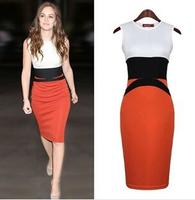 2014 New fashion Womens Celebrity Midi Bodycon Ladies Red Pencil Evening Slimming Panel Tea Dresses S-XL