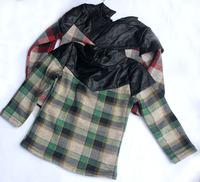 wholesale(5pcs/lot)-child girl  plaid winter thicken base shirt