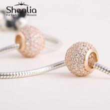 2014 new 14k rose gold pave rhinestone ball charm beads 925 sterling silver jewelry fits pandora