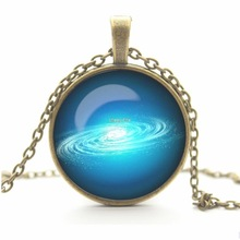 Vintage Universe Cabochon Galaxy Necklace Pendant Chain Necklace New Brand Women Men Lovely Gift Cheap fine