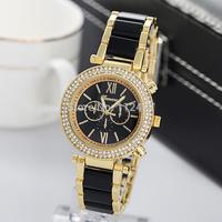 Holiday sale Wristwatches Free Shipping Luxury Geneva Brand quartz watch Japan Mov Black Ceramic Watch band-RA005