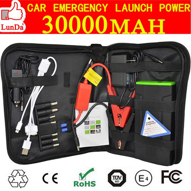 Portable 12v car battery jump starter 30000mah mini mobile phone laptop power bank battery terminal booster(China (Mainland))