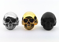 Free Shipping Wholesale Men's Fashion Punk Smooth Middle Knuckle Paver Skull Rings 316L Stanless Steel rings for men jz215