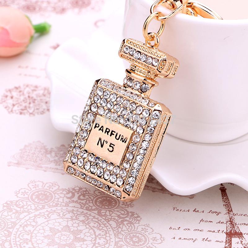 Fashion Rhinestone Perfume Bottle Keychain creative novelty trinket key chain holder women bag&car Accessories Souvenir gifts(China (Mainland))