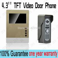 2014/2015 New luxury gold Wiredrawing shell ! 4.3 inch  Video Door Phone Doorbell  Security Entry Intercom System doorphone