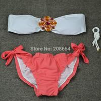 2015 New Fashion Bikini Hot Sexy Diamond Push up High Quality Swimsuit Set Swimwears Women
