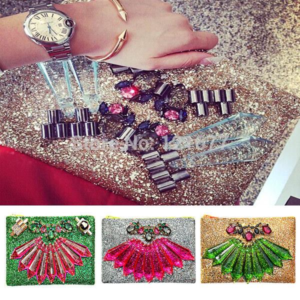 29 Colors Shourouk Luxury Handbag Bolsa Feminina Glitter Clutch Bags Flower Party Accessories Women Bag Vintage Costume Jewelry(China (Mainland))