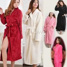 2014 New Winter Loose Long Sleeves Women Bathrobes Shawl Collar Night Dress Coral Fleece Bathrobe Spa Shawl Unisex 10(China (Mainland))
