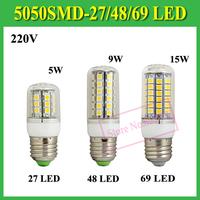 1 P 5W 9W 15W Wall LED Lamps E27 E14 GU10 G9 B22 27 48 69 LEDs AC 220V 5050 SMD Corn LED Bulb Ceiling light