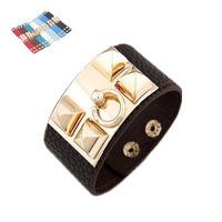 2014 New Punk Style Rivet Clasps Wrap Leather Bracelets Bangles for Women Men Vintage Wrist Bracelet with Gold Black A05020