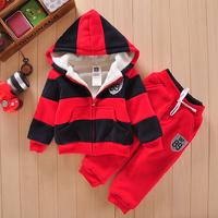 new 2014 baby wear  high quality garment + zipper hooded upset coat + Cowboy pants(2pcs) baby boy clothes