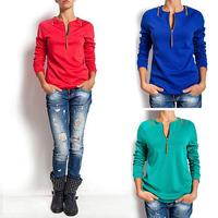 FanShou Free Shipping 2014 Women Hoody Autumn Long Sleeve Pullover Hoodies Casual Women Sweatshirt With Zipper Moleton Feminine
