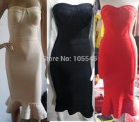 2015 new hot new year women strapless black beige elegant luxury bodycon sexy cocktail party bandage Dress