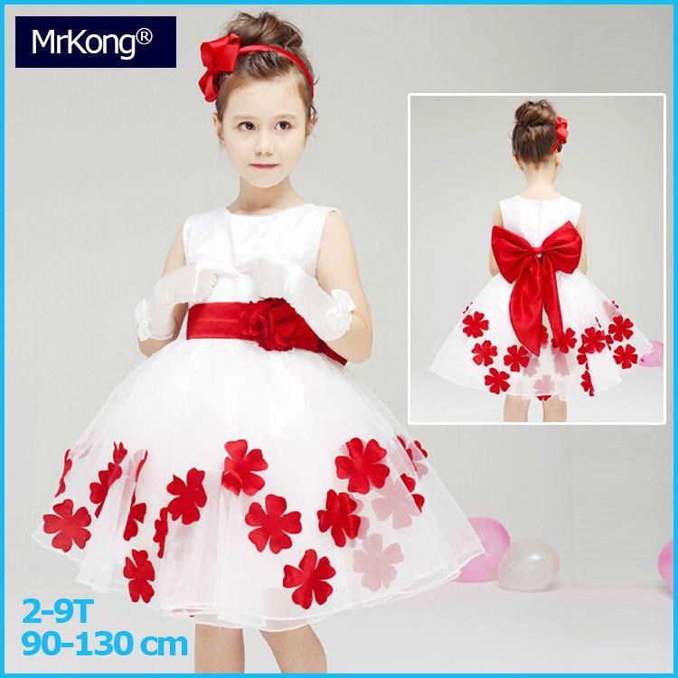 child girl costume party tutu wedding dress kids girl white dress