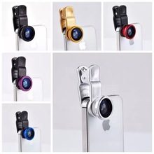 Top Universal 3in1 Clip-On Fish Eye Lens Wide Angle Mobile Phone Lens For iPhone 4 5 Samsung Galaxy S4 S5 All Phones fisheye