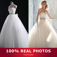 100% Real Photos Ball Gown Puffy Bridal Gown Swetheart Appliqued Sweep Train Tulle Wedding Dress 2014 With Beaded Sash X3