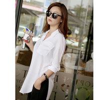 New  2014 Fashion Long Blouse Causal White Chiffon Office Shirt Camisas Femininas Long Sleeve Turn Down Collar Blusa