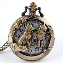 Free shippingCow Bronze Pendant Luminous Mechanical FOB Chain Pocket Watch Hour Gift P253