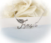 10pcs/lot-2015 Gold/Silver Minimalist Jewelry Charm Angel Letter Wing Pendant Necklace for Women