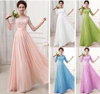 2015 New Vestidos De Fiesta Tulle Lace Chiffon Long Wedding Party Dress Elegant Junior Bridesmaid Formal Prom Dress with Sleeves