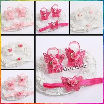 Детская обувь ребенка босиком сандалии повязка на голову комплект бабочка / любовь девушки свадебной моде payty принцесса цветок обувь мягкой подошвой обуви #2T0053 10 компл./лот