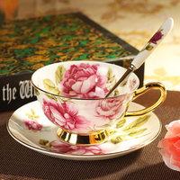 With Continental high-grade coffee mug / ceramic tea cup / British-style Coffee cup saucer Set spoon / bone porcelain Mug Kit