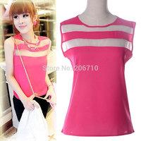 2015 Hot Sale Blusas Femininas Cheap Cloth Tops Vintage Stitching Sleeveless Shirt Chiffon Blouse Casual Shirt Women Blouses