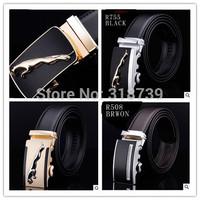 HOT Fashion MEN's Genuine Leather Waist Strap Belts Automatic Metal Buckle Gold Silver Split Cow Leather LuxuryCX015 Man's belt