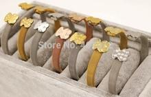 Free Shipping 2014 new wholesale jewelry women and men Korean fashion little bear bracelet cute Winnie titanium steel bangle