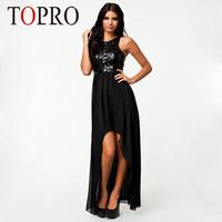 Topro 2015 Irregular Black Chiffon Sleeveless Blackless Sexy Dress Floor Length Long Summer Casual Sequin Party Dresses HW0093