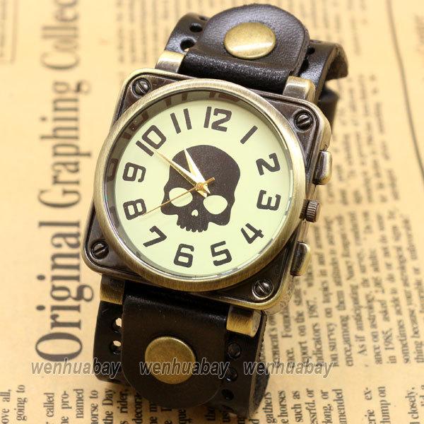Retro Vintage Skull Black Leather Band Bracelet Quartz Wrist Watch Men Boy Casual Watch B2221