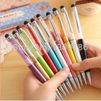 10 pcs/lot Cute diamond Crystal ballpoint Pen Kawaii Touch Screen Ball pen for Ipad Iphone Wholesale