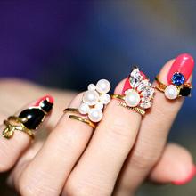 Japanese Harajuku Style Cat Family  Imitation Diamond Pearl Gemstone Rings A Family Of Four Rings Finger Rings Cute Rings R884