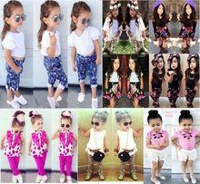 Fille vêtements de mode ensemble des enfants été vêtements décontractés ensembles filles costume de coton définit 2015 New enfant vêtements(China (Mainland))
