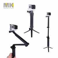 New Arrival GoPro 3-way Monopod + Tripod + Grip Super Portable Magic Mount selfie stick for GoPro Hero4 / 3+ / 3/ 2 + SJ4000