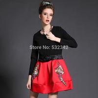 2014 autumn and winter plus size clothing slim faux two piece set plaid woolen patchwork wrist-length sleeve one-piece dress