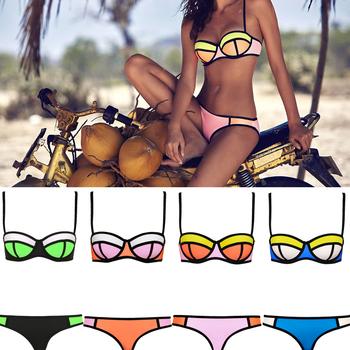2015 женщины сексуальные бикини росту яркий дайвинг бикини установить пляж купальники мода неопрена бикини треугольник купальник 2 шт. biquini