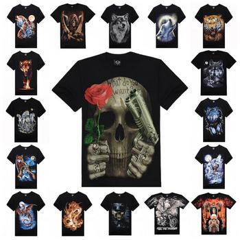 3D печать мода рубашки мужчин с коротким руковами футболка 2015 новый панк стиль 100% хлопок высокое качество цифровой живописи печать