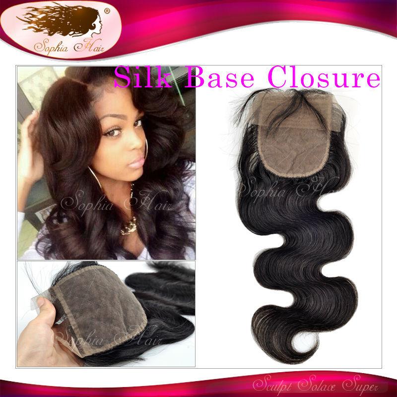6A Silk Base Closure Brazilian Hair Body Wave 100% Human Hair Wig Brazilian Virgin Hair Free/Middle/3 Part Silk Based Closure(China (Mainland))