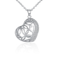 Wholesale!!Free Shipping 925 Silver Necklace,Fashion Sterling Silver Jewelry net heart Necklace SMTN548