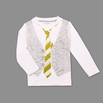 2015 общество с ограниченной топ мода мальчики мальчики одежда дети майка 100% хлопок рукав дети рубашки поддельные жилет галстук-бабочка печать нова