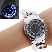 2015 NEW Rubber Blue Binary LED Watch Mens Diving Sport Clock 30M Waterproof Watch Novelty Item for Gift
