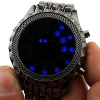 2015 Hot  Fashion Rubber Blue Binary LED Watch Mens Diving Sport Clock 30M Waterproof Watch